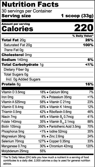 KetoMed Vanilla Nutrition Facts